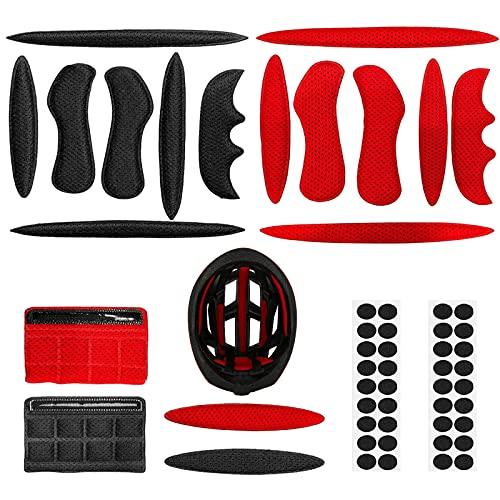 2 Juegos Magic Stick Almohadillas de Espuma para Casco, Casco Acolchado Kit, Protección de Esponja de Viscosa con Revestimiento anticolisión para Bicicleta eléctrica Motocicleta (Negro + Rojo)