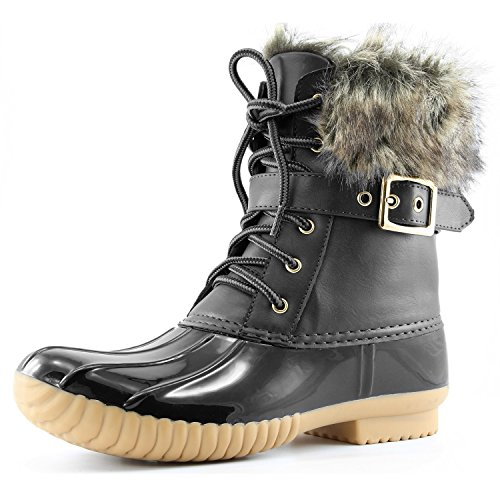 Dailyshoes Women's Duck Booties Waterproof Rain Snow Winter Warm Ankle Short Lace Up Buckles Boots Mid Heels Buckle Padded Mud Rubber Donald-01 Black Pu 11