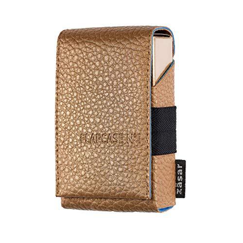 FLAPCASE N°1 • Gold ONE • Designer Zigarettenetui, Made in Austria, Leder vegan Zigarettenbox für 19, 20, 21 Zigaretten Packungen, regular King-Size