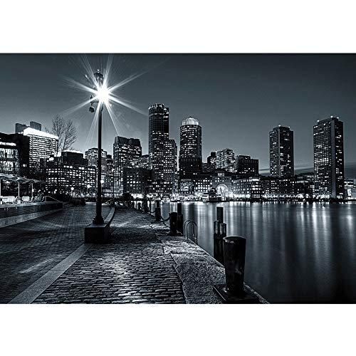 Vlies Fototapete 350x245 cm PREMIUM PLUS Wand Foto Tapete Wand Bild Vliestapete - New York Tapete Laterne Nacht Skyline Lichter Fluss schwarz - weiß - no. 843
