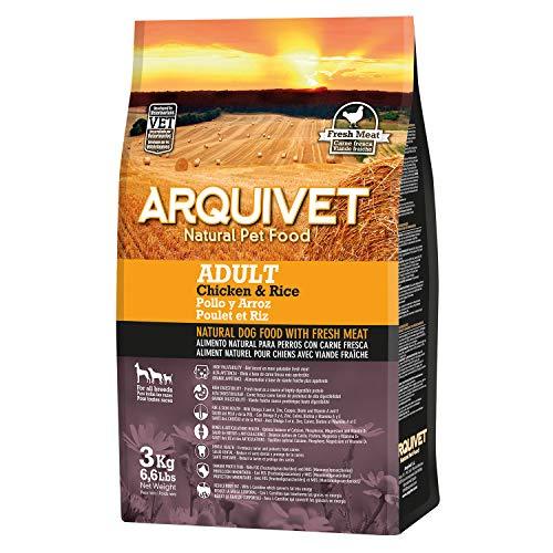 Arquivet Pack 4 Unidades de pienso Natural para Perros con Carne Fresca 3 Kg - Pollo y arroz - Comida Natural para Perros - Alimentación Canina para Adultos