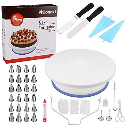 Mesa giratoria para tartas, todo en uno para la decoración de tartas con una espátula para glaseado y glaseado suave, soporte de tarta giratorio
