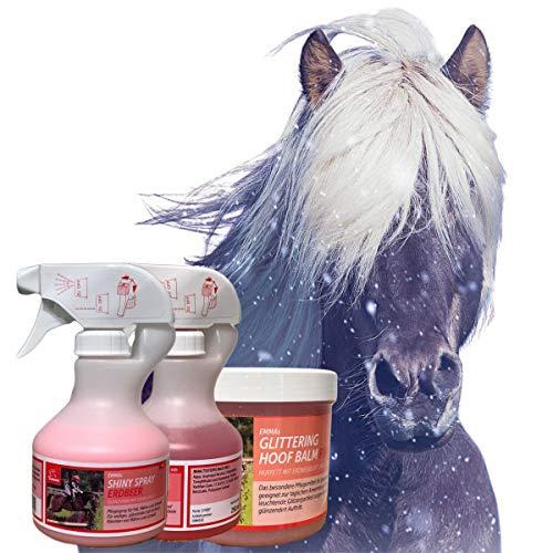 EMMACura del Cavallo – Set 3 Pezzi, Spray Glitter per Cavalli, Huffett in Rosa con Profumo di Fragola & Glitter, Spray per criniera per Pelo, criniera e Coda per Cavalli