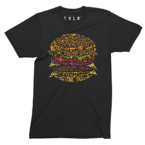 CVLR Burger Pictogramm Hamburger Cheesburger T-Shirt - Streetwear Logoprint (XXL)