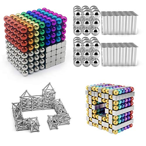 Qqwe 5 mm 510 Pieces Magnetic Sculpture Building Blocks Toys for Intelligence Learning - Office Toy & Stress Relief for Adults Teens Boys Girls