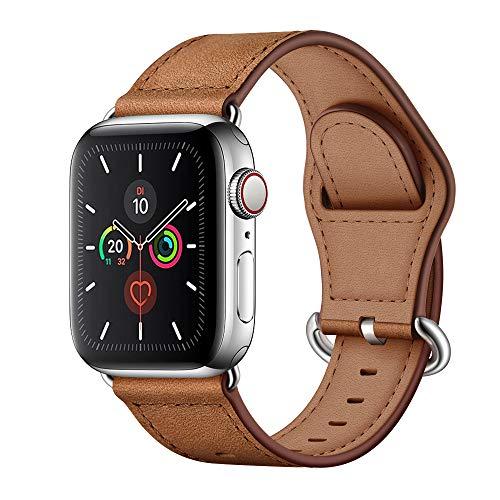 Arktis Armband [echtes Leder] kompatibel mit Apple Watch (SE, Series 6, Series 5, Series 4-40 mm) (Series 3, Series 2, Series 1-38 mm) Lederband mit Edelstahlschließe und Adapter - Vintage Braun
