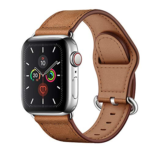 Arktis Armband [echtes Leder] kompatibel mit Apple Watch (Series 1, Series 2, Series 3 mit 38 mm) (Series 4, Series 5 mit 40 mm) Lederarmband mit Edelstahl Dornschließe und Adapter - Vintage Braun
