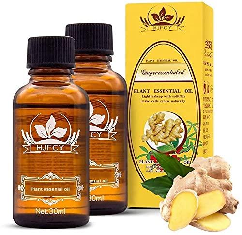 (Lieferung aus Deutschland) 2 Flaschen ätherisches Ingweröl Detox ätherisches Öl zur Förderung der Durchblutung ätherisches Spa-Öl