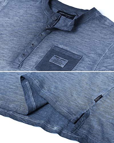 Men's Vintage Color Dyed Short Sleeve Crew Neck Chest Pocket Henley Shirt 6