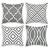 Yastouay Throw Pillow Covers Set of 4 Geometric Pillow Covers Modern Decorative Throw Pillow Cases Cushion Covers for Couch Sofa Bedroom Car(Grey, 18 x 18 Inch)