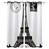 Home Decor Window Curtains, French Paris Eiffel Tower City of Love Black White Monochrome - 2 Panel Window Treatment Set with Grommet Window Drapes Covering for Kitchen Cafe Living Room 55' W x 39' L