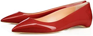 XYD Pointy Toe Slip On Flats Patent Hidden Low Heel Office Daily Walking Shoes for Women