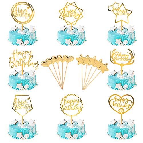 LADES Happy Birthday Cake Topper - 10 Pezzi Gold Acrilico Cake Topper Compleanno Oro Cupcake Toppers Decorazioni Torta Compleanno per Bambini O Adulti