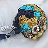 Ramo De Novia Artificial Falso Flor De Rosa Diamantes De Imitación Y Perla Ramo De Novia De La Novia Para Apartamento Boda Hotel Restaurante Decoración (Dorado, Azul Pavo Real, Azul Marino)