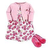 Hudson Baby Girls' Cotton Dress, Cardigan and Shoe Set, Pink Roses, 0-3 Months