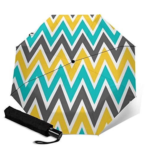 ZEH Premium Windproof Umbrella,Turquoise Gray Yellow Gold Chevron Travel Folding Automatic tri-fold Umbrella Compact Umbrella Lightweight SunRain Umbrella FACAI
