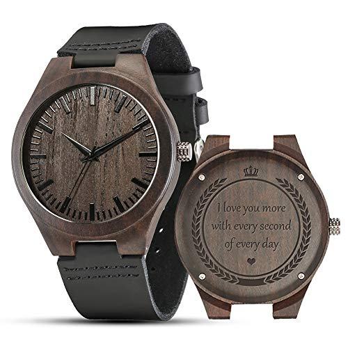 Engraved Wooden Watches, Personalized Engraved Wood Watch Japanese Movement Battery Anniversary Birthday Graduation Watches for Mens Husband Love Dad Mom Son Friend (for All Love)