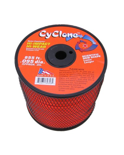 Cyclone .095-Inch diameter, 3-Pound Spool Commercial Grade 6-Blade Grass Trimmer Line, Orange CY095S3-2