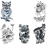 Half Arm Temporary Tattoo Transfer Paper (5PCS), Waterproof Watercolor Body Art Sticker for Men Women, Chest, Shoulder, Back, Owl Flowers Eye Rose Wolf Lion Skull, Beach Pool Party Supplies; T11