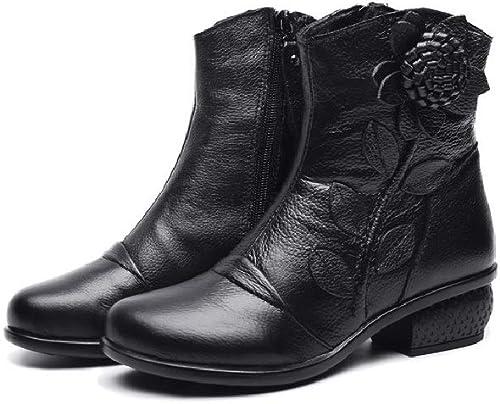 Gaslinyuan Flor de Las mujeres de la Vendimia botas de zapatos de Cuero de la Cremallera Suave (Color   negro, tamaño   EU 38)