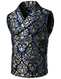 VATPAVE Mens Victorian Double Breasted Vest Gothic Steampunk Waistcoat X-Large SV16 Navy