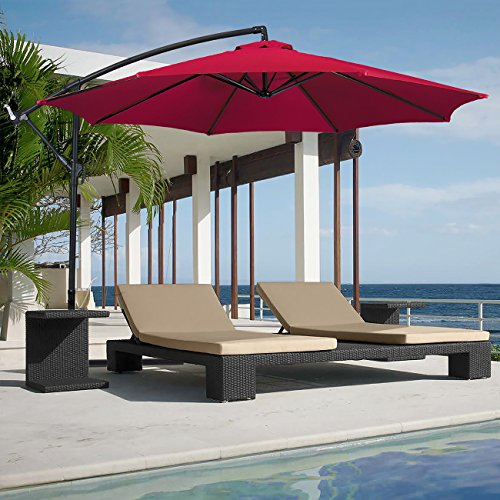 BELLEZE 10ft Outdoor Patio Umbrella Sun Shade Hand Crank Tilt UV Resistant Cantilever Octagonal Large w/Base, Red