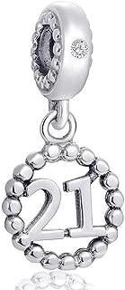 Number Bracelet Charms, 925 Sterling Silver Pendants Beads Fit Pandora Charm Bracelets, Necklace, 16,17,18,21,22,30,40,50,60 Dangling Dangle Charm for Birthday