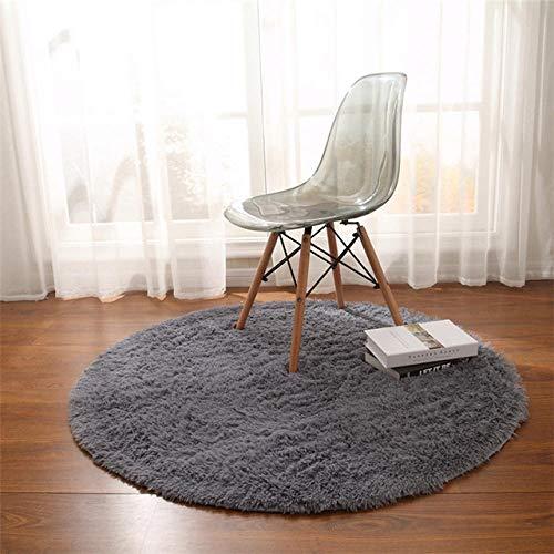 LAMEDER Wohnzimmer Teppich,Modernes Schlafzimmer verdickt schmutzabweisend runder Flauschiger Teppich rutschfest saugfähig pelzigen Fitness Yoga Matte grau, 80 × 80cm