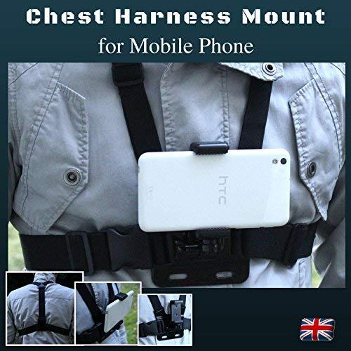 Designo Brust-/Körpergurt für Handy, Handy-Halterung, Verwendung wie bei Action-Kameras, passt universal zu iPhone/Samsung/Nokia/Sony/Huawei etc.