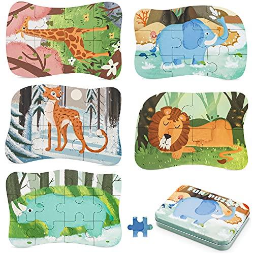Puzzle Grandi Per Bambini,Puzzle Animali Bambini, Puzzle Pezzi Di Elefante In Legno,5 Creature Diverse,Ghepardo,Giraffa, Leone,Rinoceronte,Elefante,Giocattoli Montessori, Per Bambini 2 3 4 5 Anni