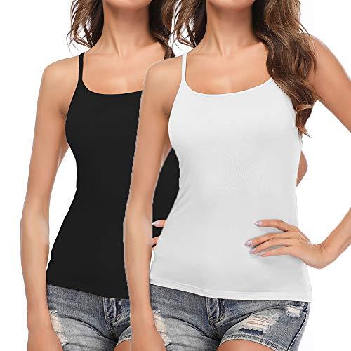 STARBILD Unterhemden & BH-Hemden 2er Pack für Damen Trägertop Damen Tank Top Dehnbar mit Verstellbare Träger Unterhemd, Schwarz + Weiß XXL