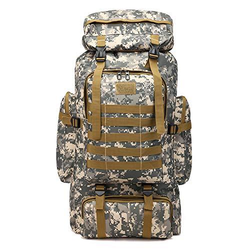 PULUSI Rucksack, hohe Kapazität, 80 l, Outdoor Camouflage Tartical Wandern Daypacks Wasserdicht Militär Taschen für Männer Reisen Camping Jagd Trekking Klettern Rucksack, Herren, Armee-grün
