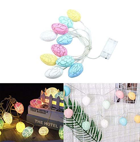 Uova di Pasqua Luci a stringa LED, 10 LEDs Luci di Pasqua LED Fata Luce di Batteria Decorazione Luce Colorata Crepa Forma di Uovo Luce Decorazioni Pasquali 1,5 Metri--No batteria