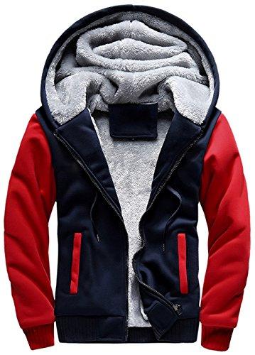 moxishop Hommes Adolescent Zip up Épais Rembourré Doublé Polaire Hoodies Sweatshirt Veste Pardessus (frw02-Rouge, X-Small)