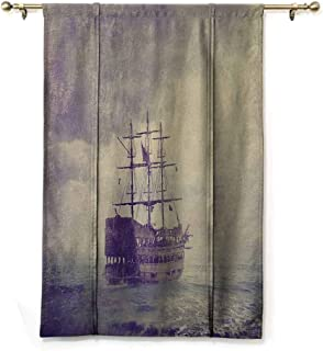 Homrkey Room Dark Black Insulated Roman Blind Nautical Old Pirate Ship in The Sea Historical Legend Cruise Retro Voyage Grunge Style Art Privacy Protection W35 xL64 Tan Plum