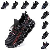 Zapatos de Seguridad Hombre Mujer Zapatillas de Trabajo con Punta de Acero Ligeros Calzado de Industrial y Deportivos Sneaker Negro Azul Gris Número 36-48 EU Rojo 46