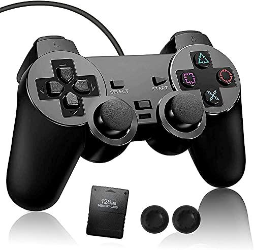 PS2 コントローラー 有線 ゲームパッド有線 PS2専用メモリーカード(128MB) 1枚付き