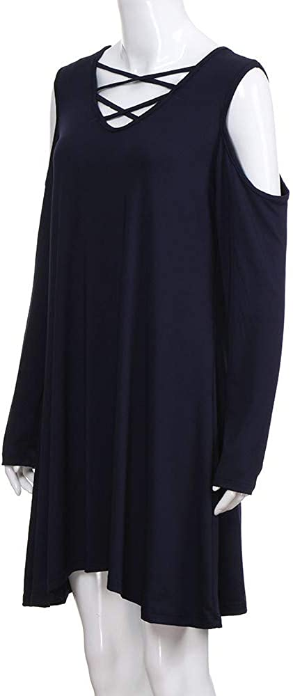 Womens Cross Neck Off Shoulder Long Sleeve Casual Pleated Swing Tunic Dress
