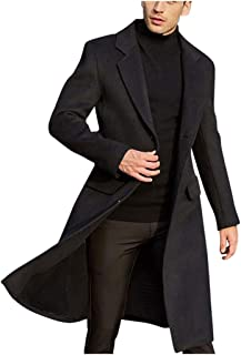 BELLA HXR Giacca Lana Uomo Invernale Lunga Blazer Cappotto Elegante Stile Britannico Giacche Lunghe Tinta Unita Giubbotto ...