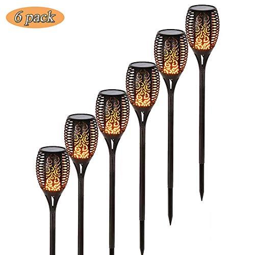 Xindaxin® 6 stück - Solarleuchten Garten Solar Fackeln Flackernder Flammeneffekt 96 LED Leuchten Wasserdichte LED Strahler für Garten Terrasse Hochzeit Dekoration