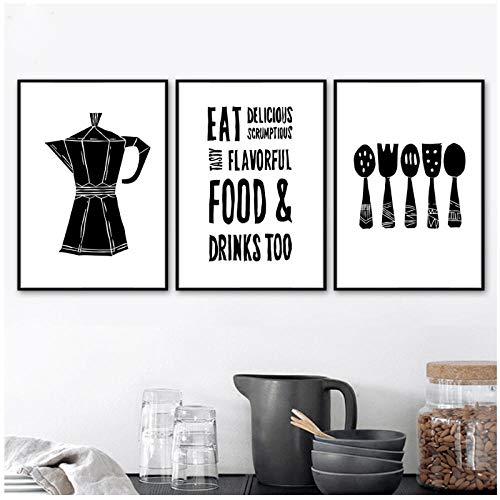 AdoDecor Löffel Gabel Kaffeekanne Moderne Plakate und Drucke Wandkunst Leinwand Malerei Wandbilder für Wohnzimmer Küche Wohnkultur 40x50cmx3 Kein Rahmen