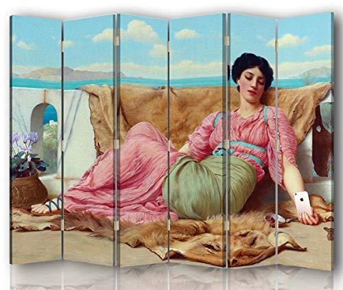 carowall CAROWALL.COM Raumteiler für Jugendzimmer Paravent beidseitig Rosa 216x175 cm