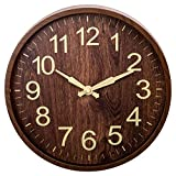 Truu Design Decorative Rustic Round Wooden Analogue Wall Clock, 11.75 x 11.75 inches, Brown