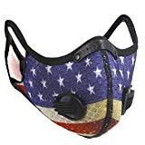 WallDecalsAndArt Reusable Dust Mask with Filters Breathing Valve Activated Carbon Face Mask Adjustable Sports mask for Woodworking, Construction, Outdoor,Cycling, Running(1 Mask American Flag )