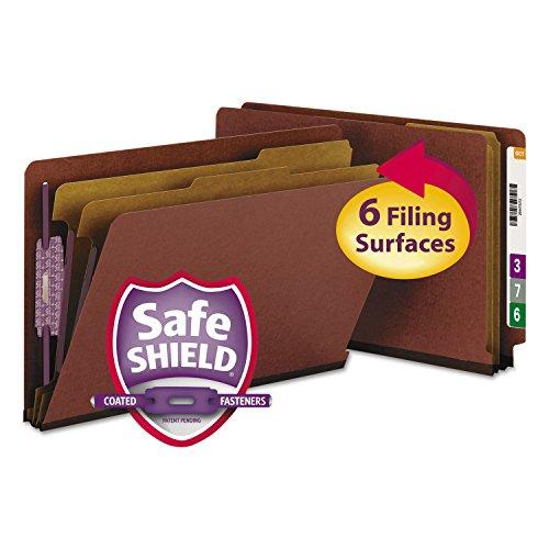 SMEAD29860 프레스 보드 엔드 탭 분류 폴더 법적 6 섹션 빨간색 10 | 상자