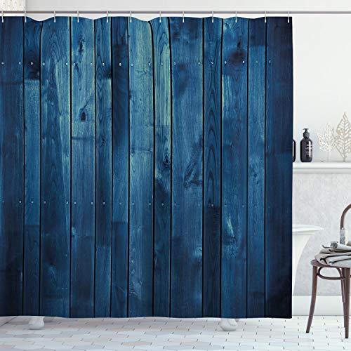ABAKUHAUS Dunkelblau Duschvorhang, Holzbohlen Textur, mit 12 Ringe Set Wasserdicht Stielvoll Modern Farbfest & Schimmel Resistent, 175x200 cm, Hellblau Dunkelblau