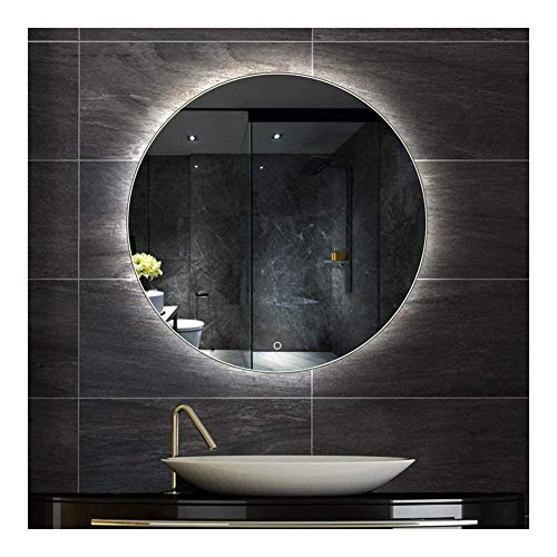 Pursue Espejo con luz de baño LED del Interruptor de Pared Redondo de Montaje en Pared táctil (Size : 60cm Diameter|White Light)