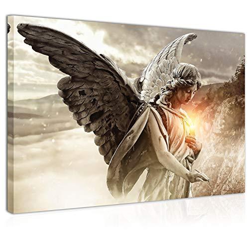 Topquadro Wandbild, Leinwandbild 70x50cm, Engel, Regen Licht und Berge - Keilrahmenbild, Bild auf Leinwand - Einteilig