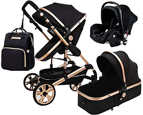 FXBFAG Cochecito plegable 3 en 1 Cochecito de bebé de lujo con muelles de absorción de impactos, alta vista, cochecito de bebé con cesta de bebé y mochila para mamá (color negro)