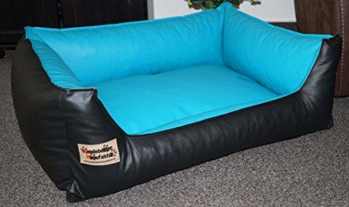 Hundebett Hundesofa Schlafplatz Kunstleder Similpelle 90 cm X 70 cm schwarz türkis